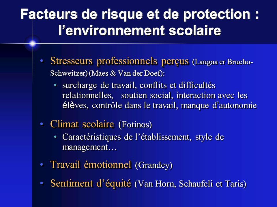 Facteurs de risque et de protection : l'environnement scolaire