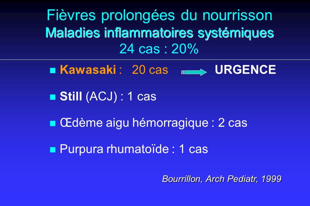 Fièvres prolongées du nourrisson Maladies inflammatoires systémiques 24 cas : 20%