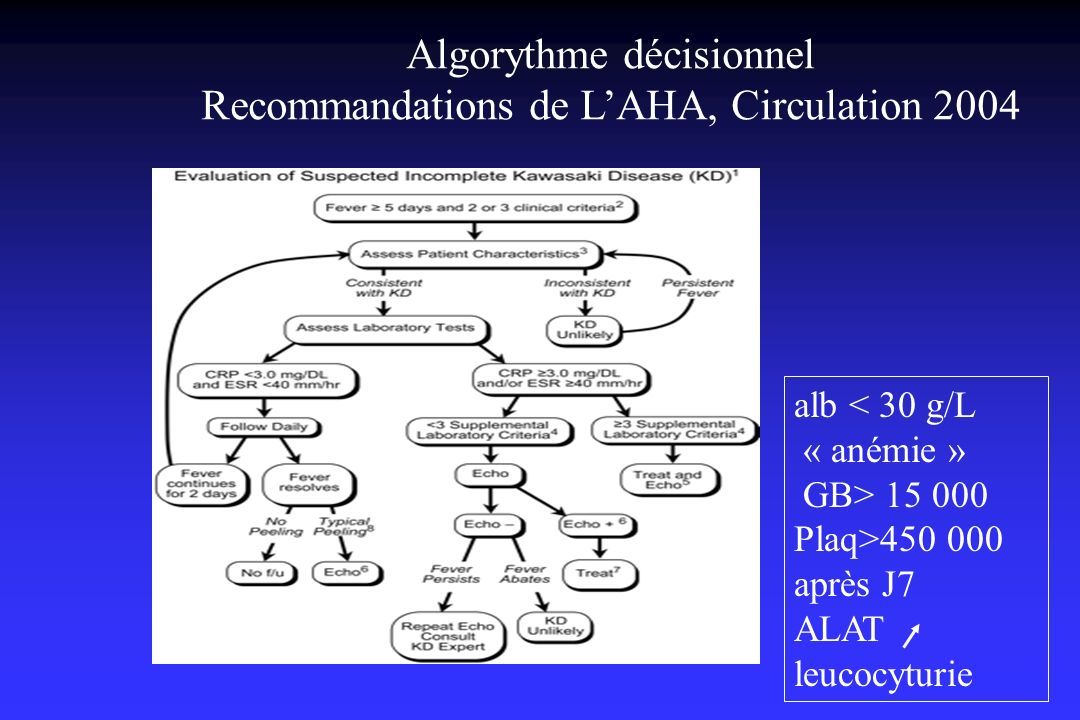 Algorythme décisionnel Recommandations de L'AHA, Circulation 2004