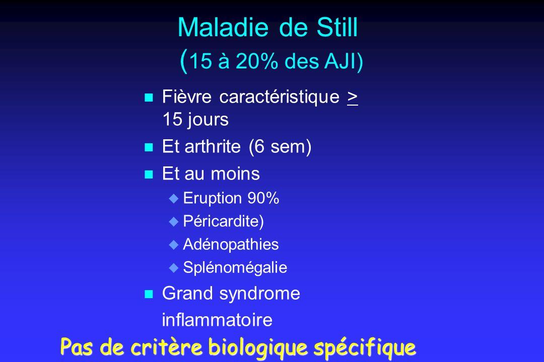 Maladie de Still (15 à 20% des AJI)