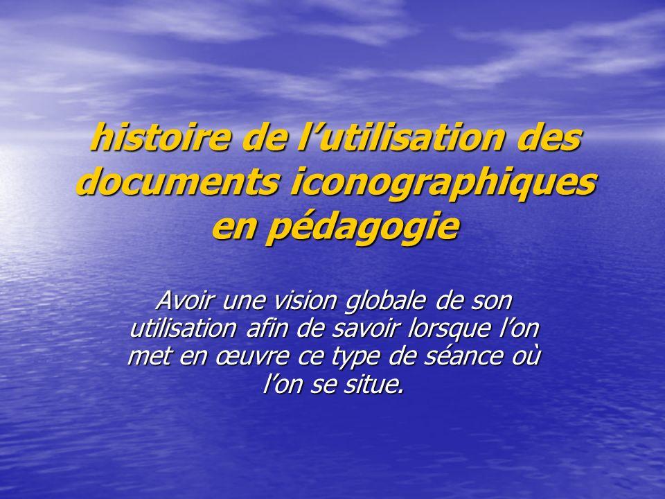 histoire de l'utilisation des documents iconographiques en pédagogie