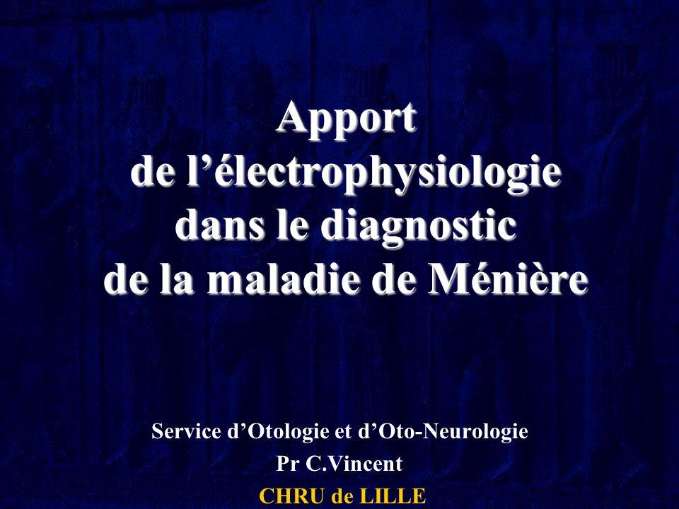 Service d'Otologie et d'Oto-Neurologie Pr C.Vincent CHRU de LILLE