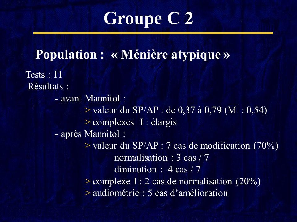 Groupe C 2 Population : « Ménière atypique » Tests : 11 Résultats :