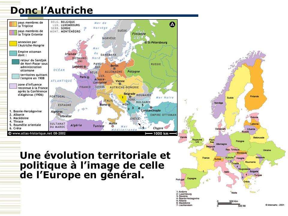 Donc l'Autriche Une évolution territoriale et politique à l'image de celle de l'Europe en général.
