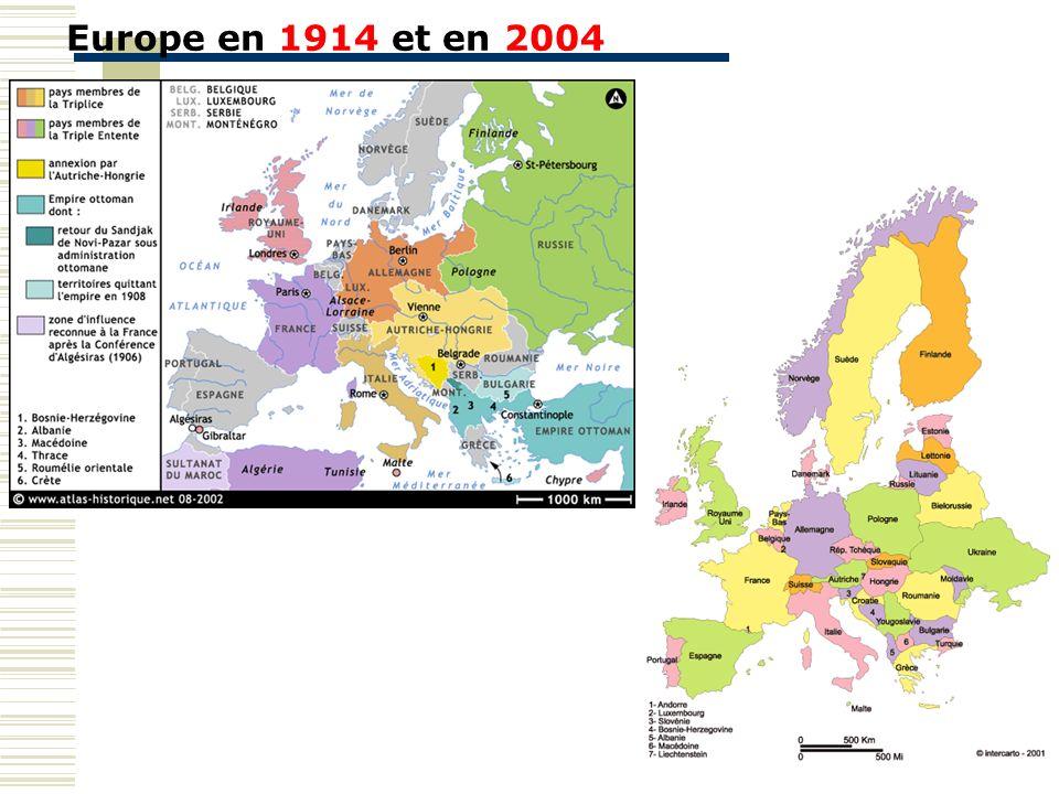 Europe en 1914 et en 2004 Travail sur l'Europe en général