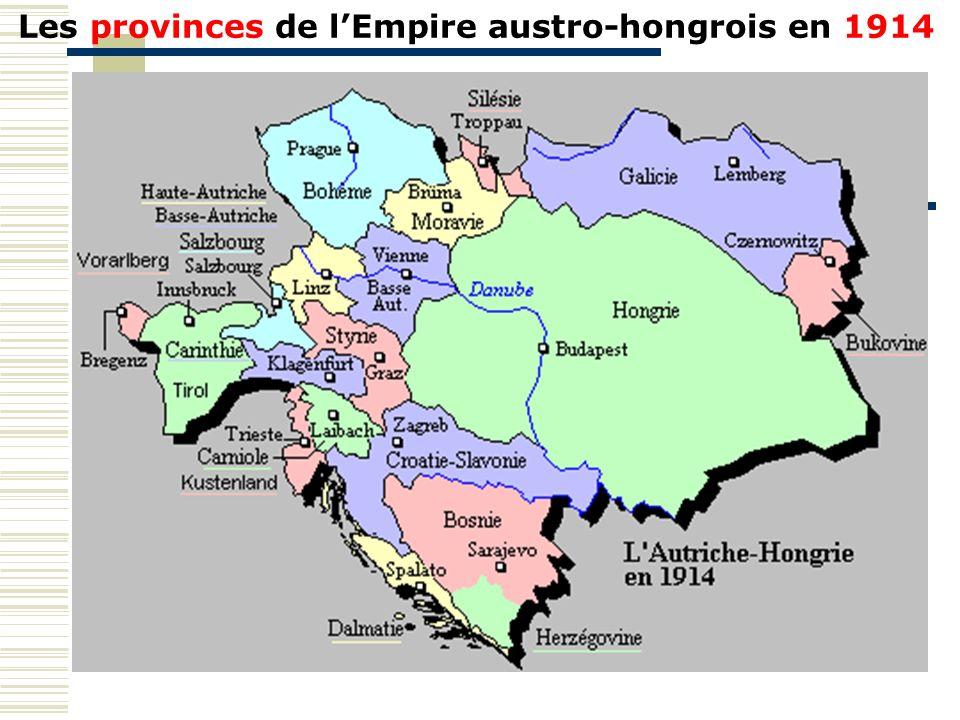 Les provinces de l'Empire austro-hongrois en 1914