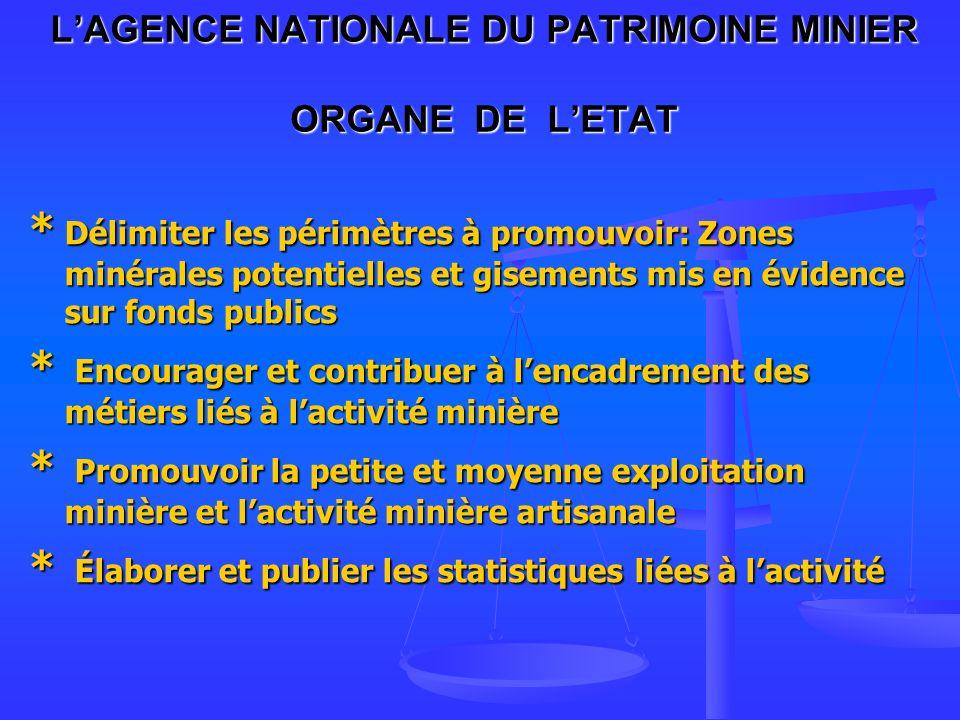 L'AGENCE NATIONALE DU PATRIMOINE MINIER ORGANE DE L'ETAT