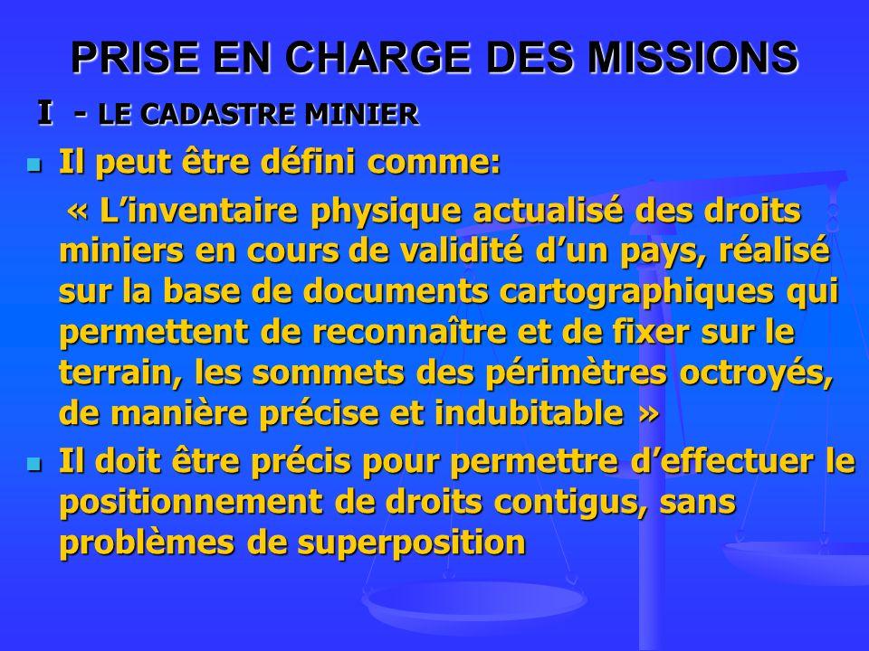 PRISE EN CHARGE DES MISSIONS