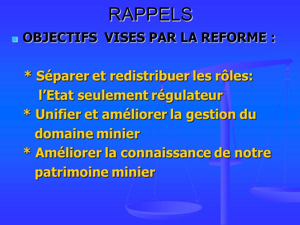 RAPPELS OBJECTIFS VISES PAR LA REFORME :