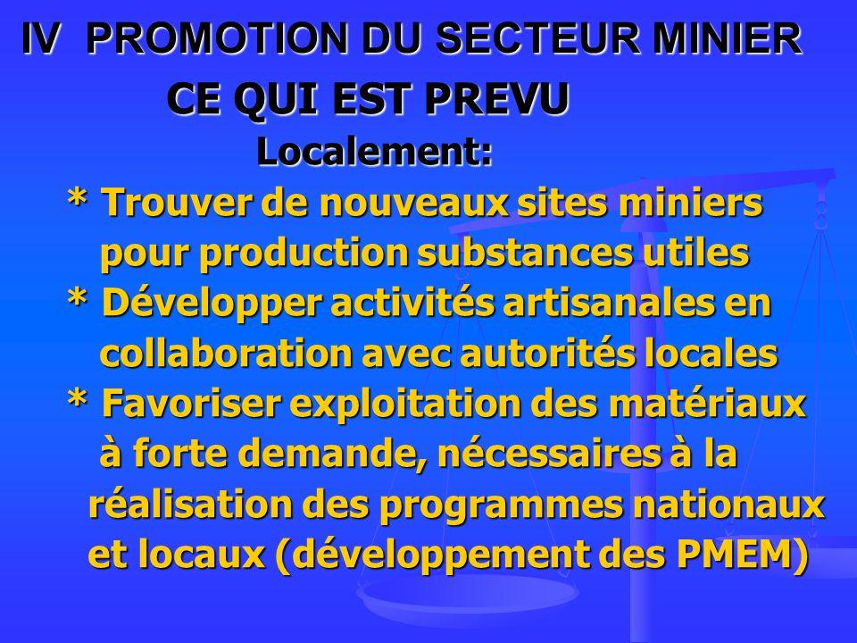 IV PROMOTION DU SECTEUR MINIER