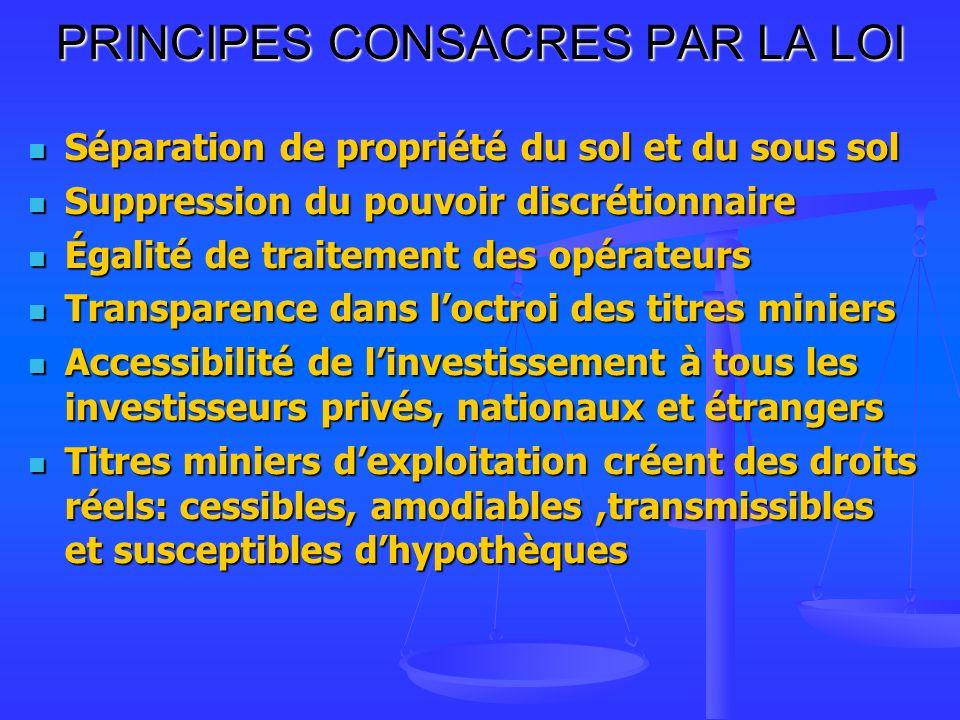 PRINCIPES CONSACRES PAR LA LOI