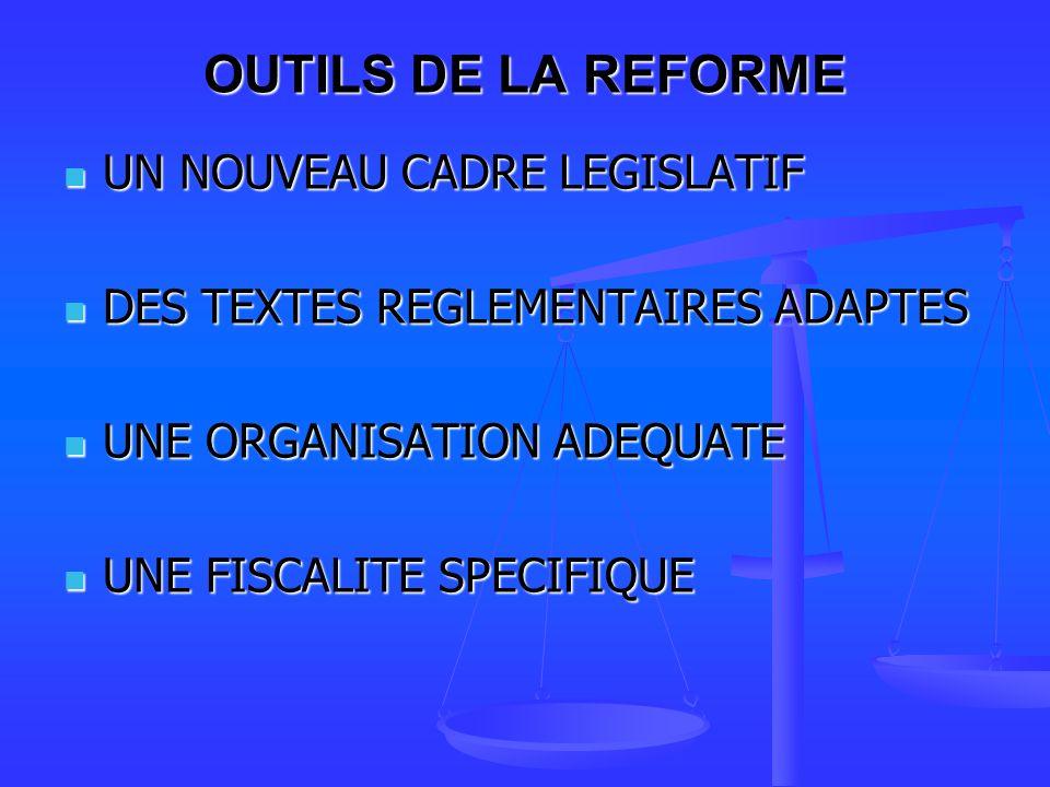 OUTILS DE LA REFORME UN NOUVEAU CADRE LEGISLATIF
