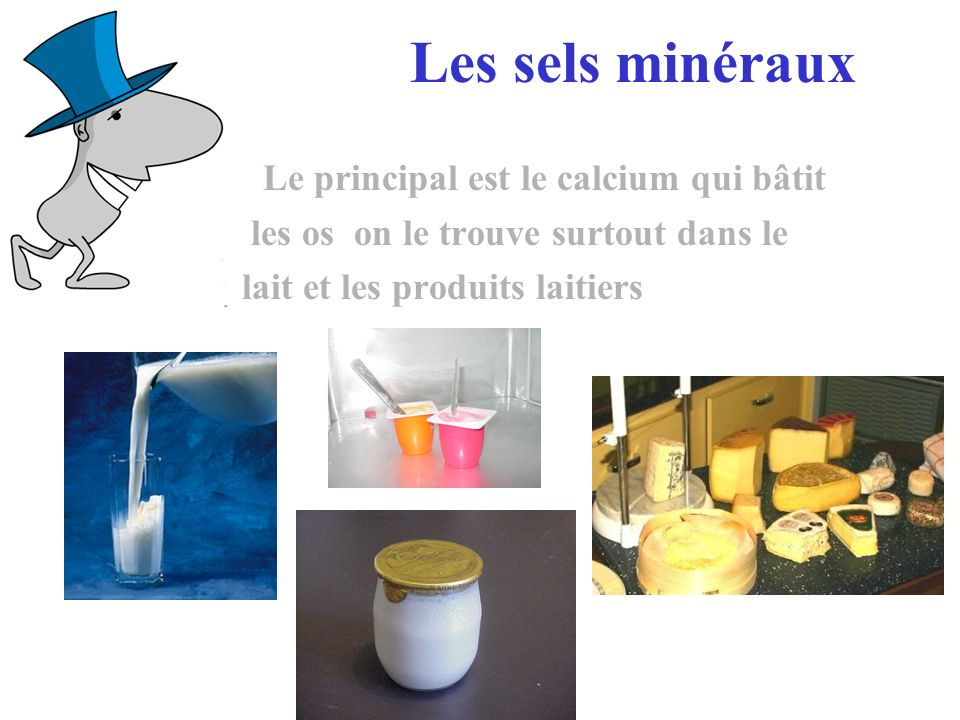 Les sels minéraux Le principal est le calcium qui bâtit