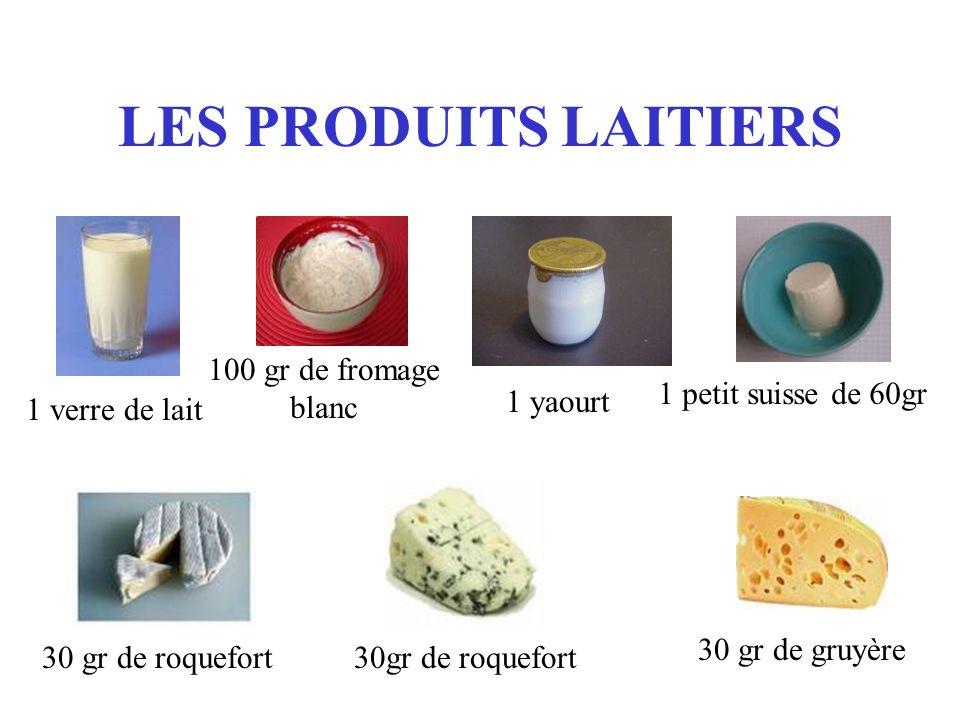 LES PRODUITS LAITIERS 100 gr de fromage blanc 1 petit suisse de 60gr