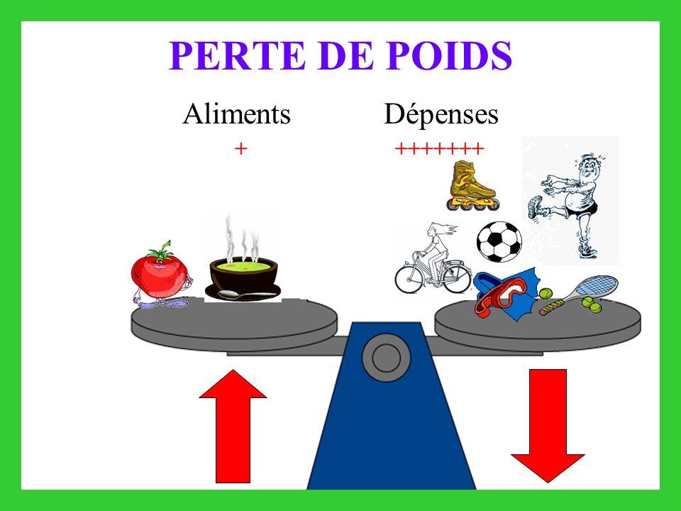 PERTE DE POIDS Aliments Dépenses + +++++++