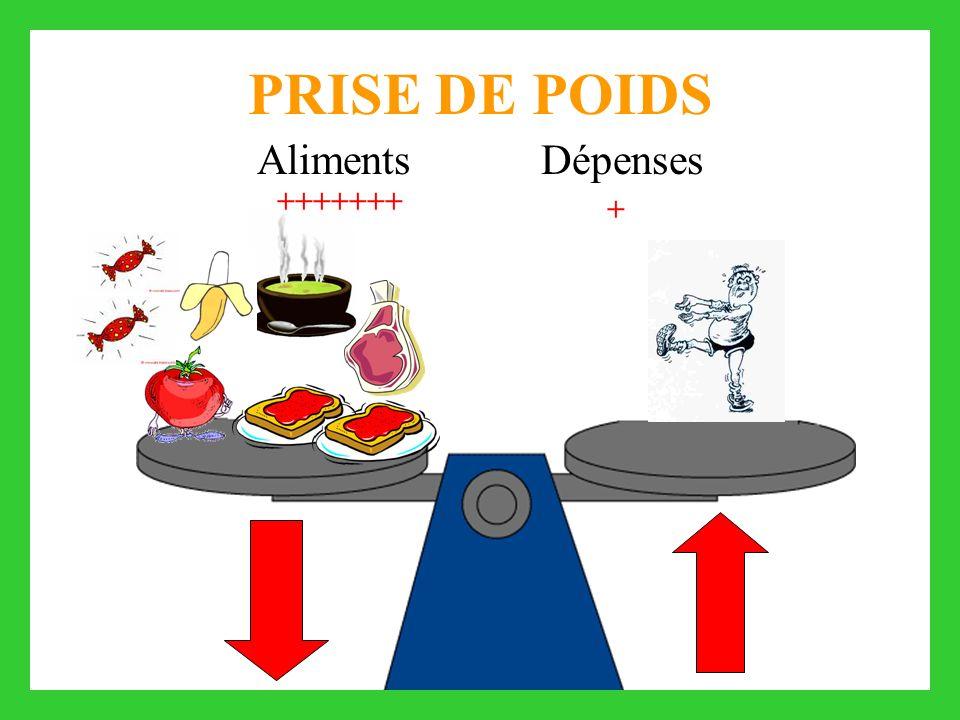 PRISE DE POIDS Aliments Dépenses +++++++ +