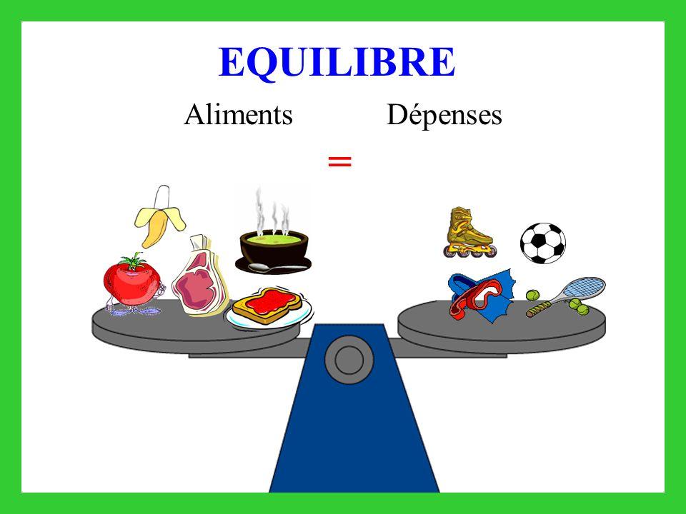 EQUILIBRE Aliments Dépenses =