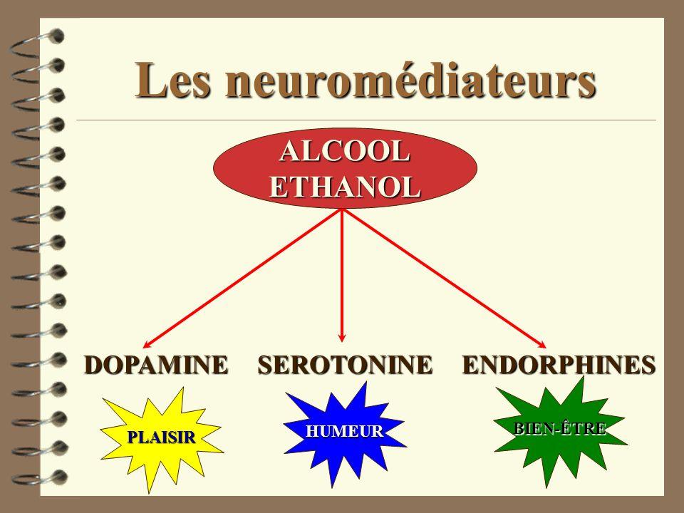 Les neuromédiateurs ALCOOL ETHANOL DOPAMINE SEROTONINE ENDORPHINES