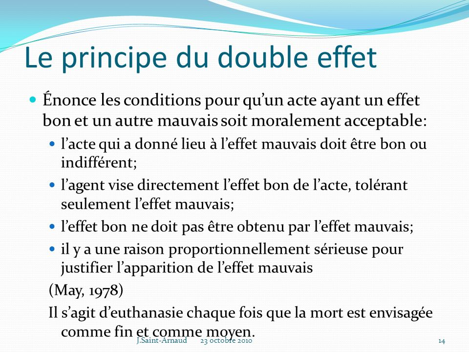 Le principe du double effet