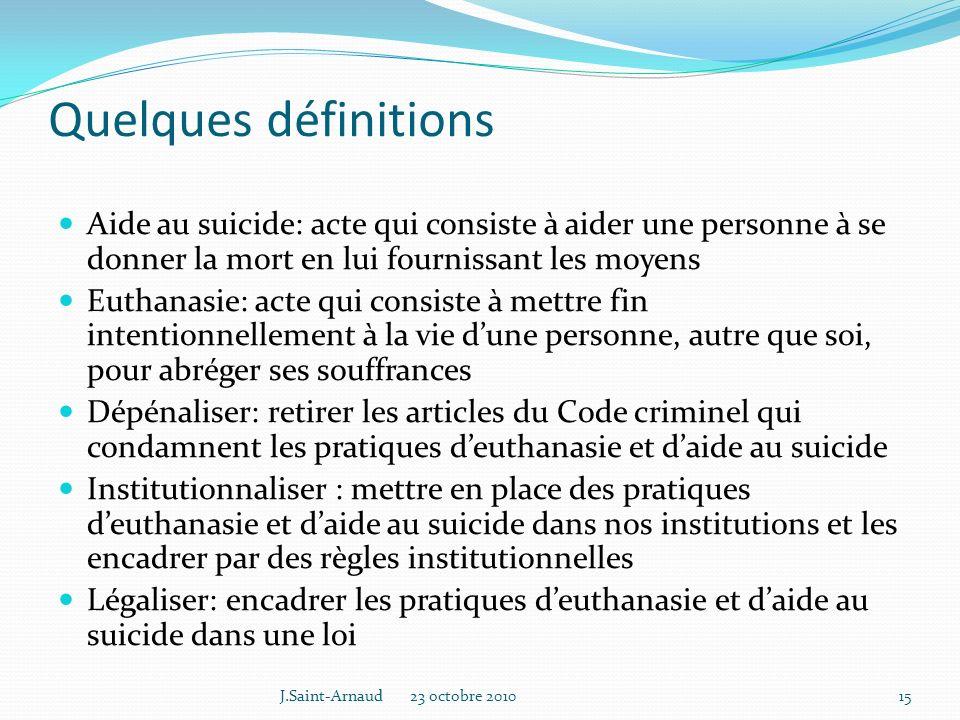 Quelques définitions Aide au suicide: acte qui consiste à aider une personne à se donner la mort en lui fournissant les moyens.