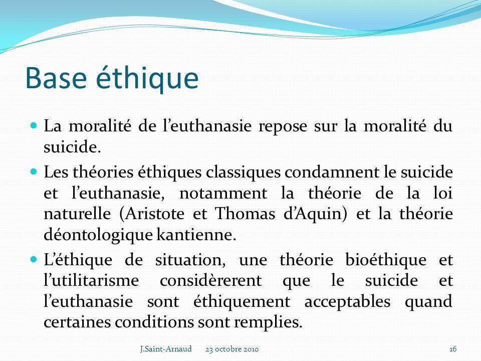 Base éthique La moralité de l'euthanasie repose sur la moralité du suicide.