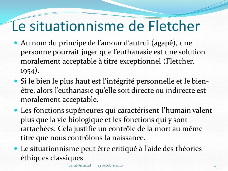 Le situationnisme de Fletcher
