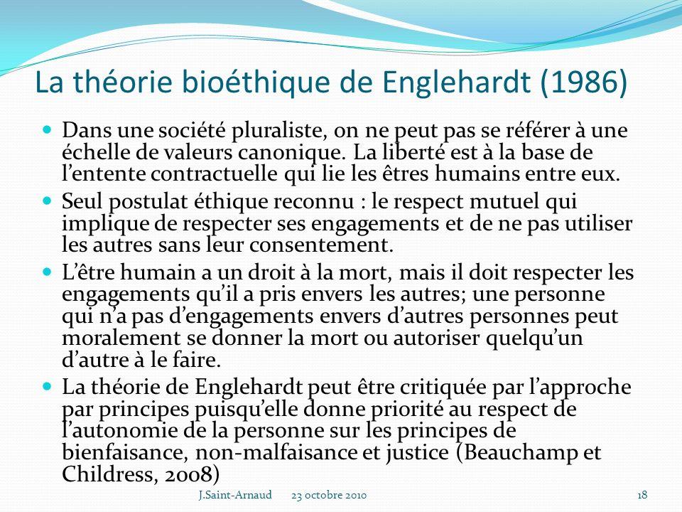 La théorie bioéthique de Englehardt (1986)