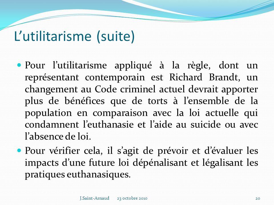 L'utilitarisme (suite)