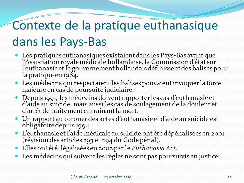 Contexte de la pratique euthanasique dans les Pays-Bas