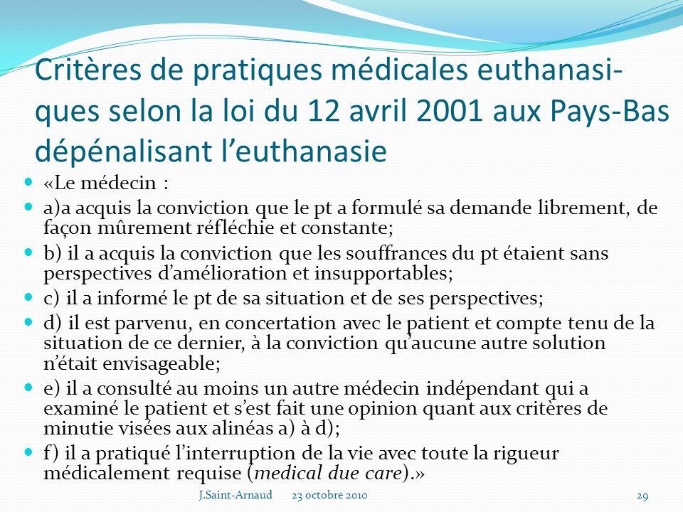 Critères de pratiques médicales euthanasi-ques selon la loi du 12 avril 2001 aux Pays-Bas dépénalisant l'euthanasie