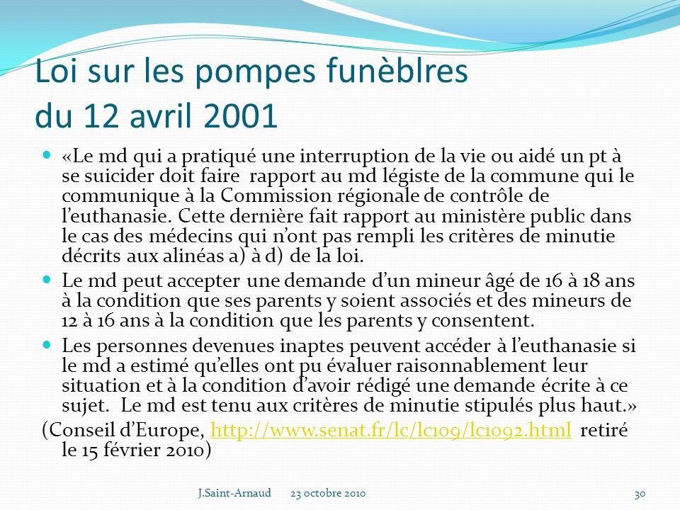 Loi sur les pompes funèblres du 12 avril 2001