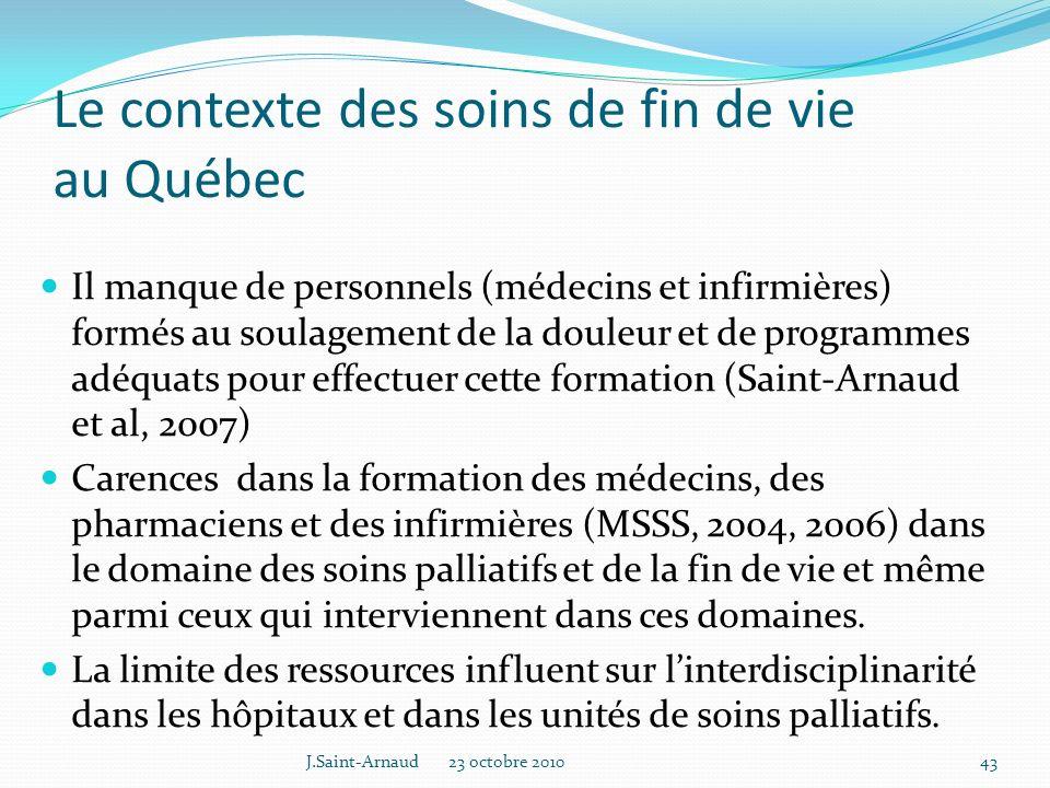 Le contexte des soins de fin de vie au Québec
