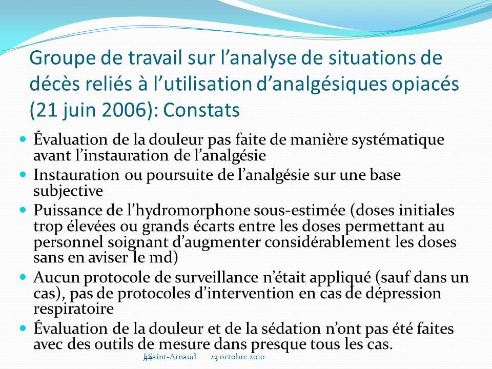 Groupe de travail sur l'analyse de situations de décès reliés à l'utilisation d'analgésiques opiacés (21 juin 2006): Constats