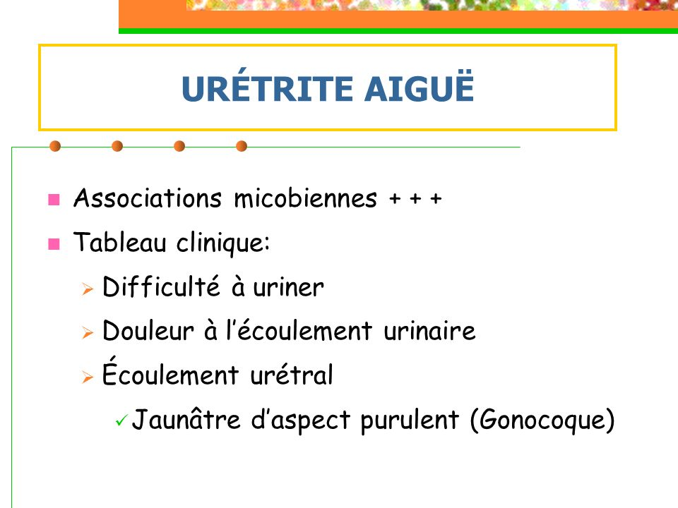 URÉTRITE AIGUË Associations micobiennes Tableau clinique: