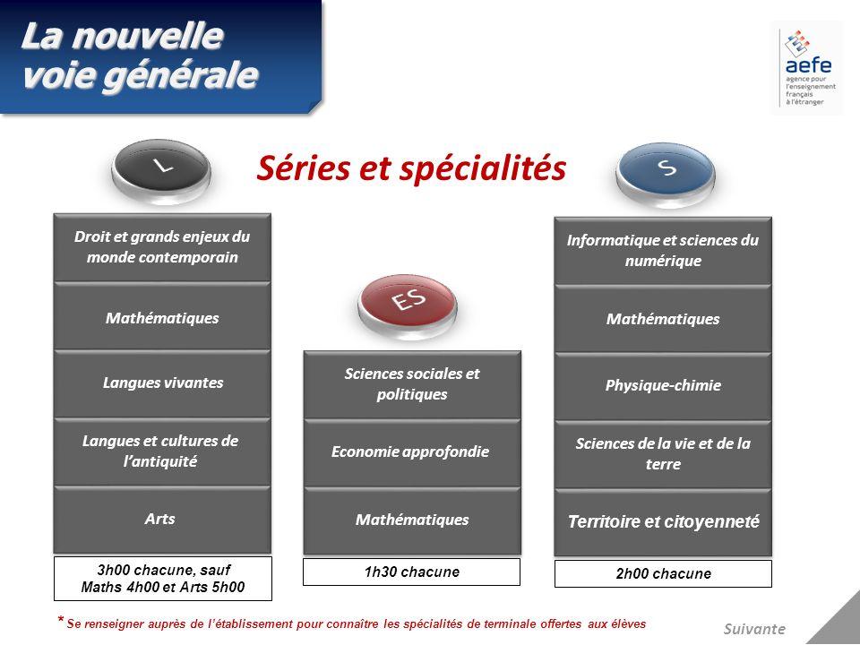 L S Séries et spécialités ES La nouvelle voie générale