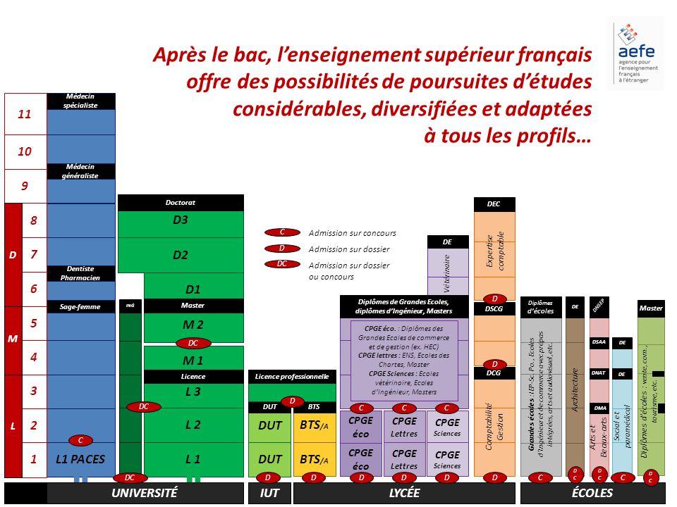 Après le bac, l'enseignement supérieur français offre des possibilités de poursuites d'études considérables, diversifiées et adaptées à tous les profils…