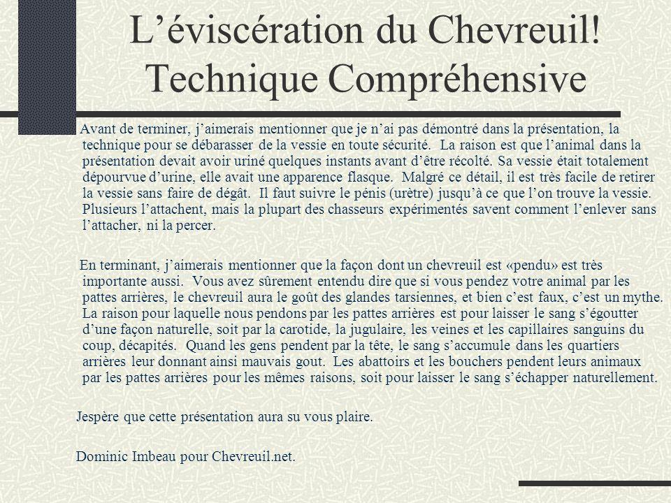 L'éviscération du Chevreuil! Technique Compréhensive