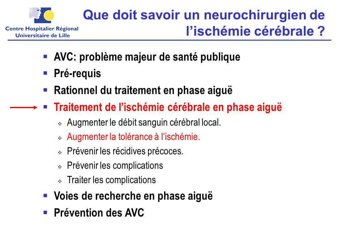 Que doit savoir un neurochirurgien de l'ischémie cérébrale