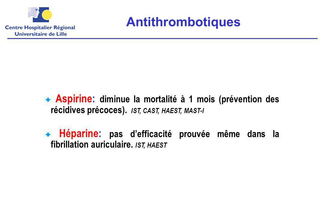 Antithrombotiques  Aspirine: diminue la mortalité à 1 mois (prévention des récidives précoces). IST, CAST, HAEST, MAST-I.
