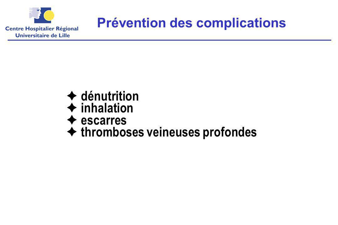  dénutrition  inhalation  escarres  thromboses veineuses profondes