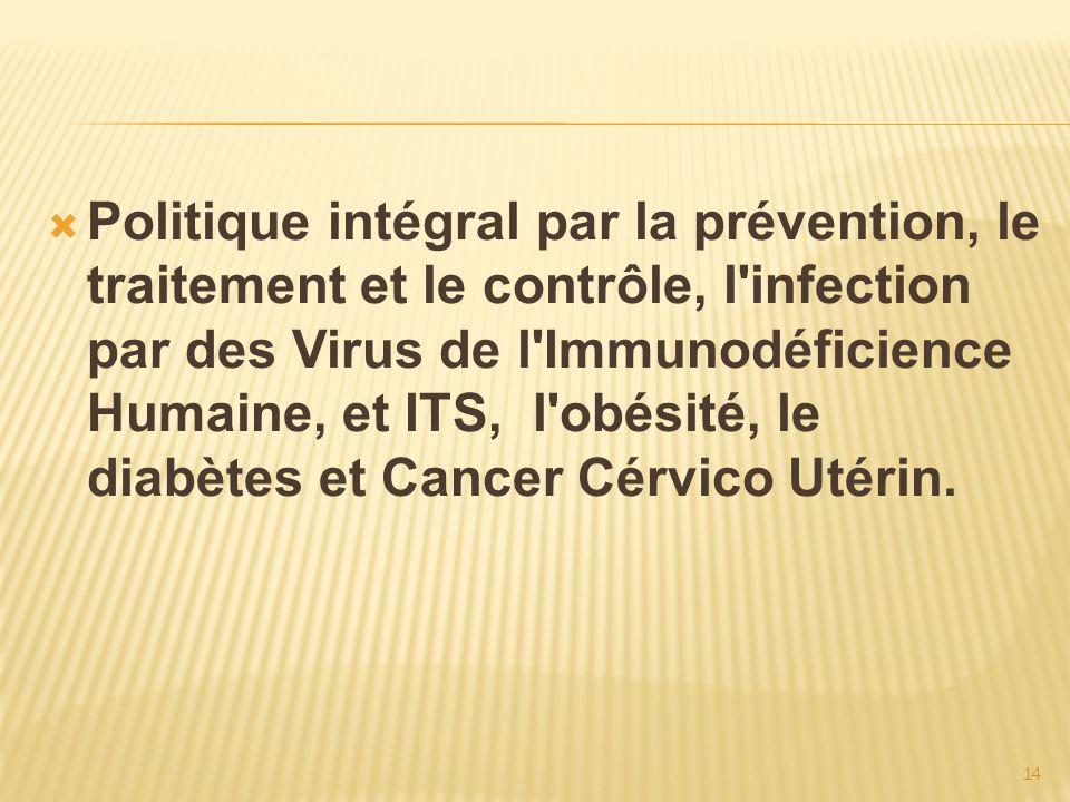 Politique intégral par la prévention, le traitement et le contrôle, l infection par des Virus de l Immunodéficience Humaine, et ITS, l obésité, le diabètes et Cancer Cérvico Utérin.
