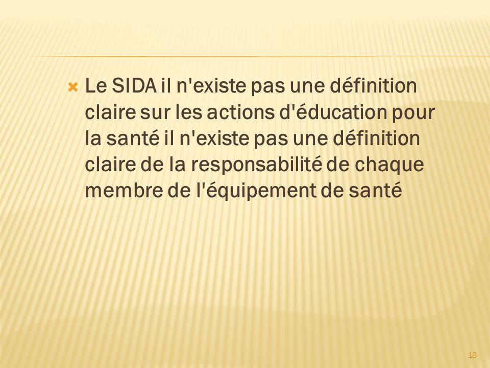 Le SIDA il n existe pas une définition claire sur les actions d éducation pour la santé il n existe pas une définition claire de la responsabilité de chaque membre de l équipement de santé