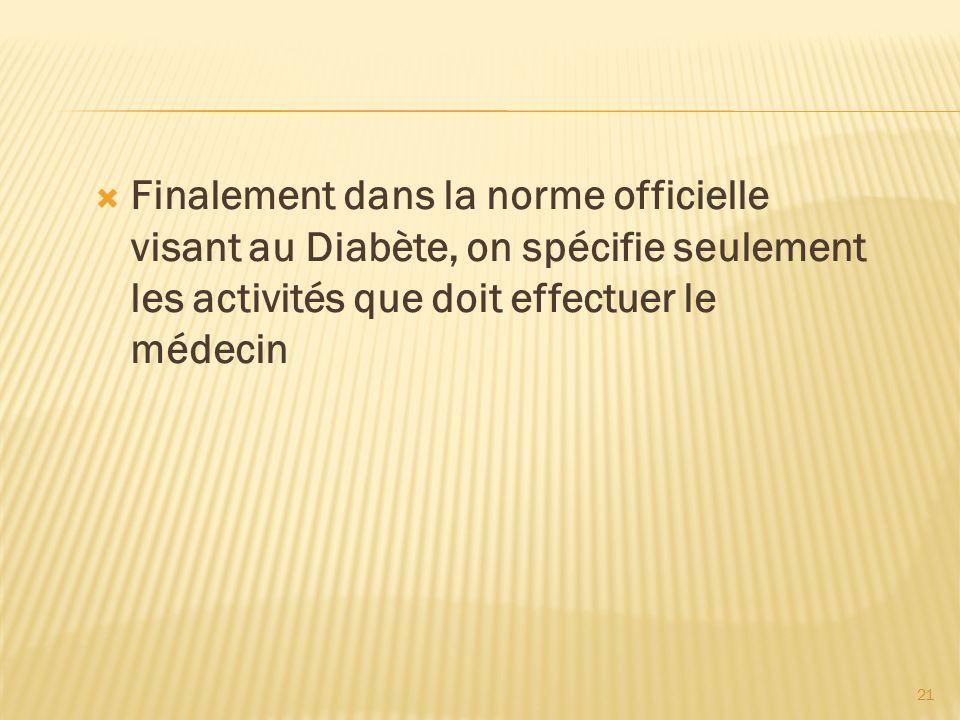 Finalement dans la norme officielle visant au Diabète, on spécifie seulement les activités que doit effectuer le médecin