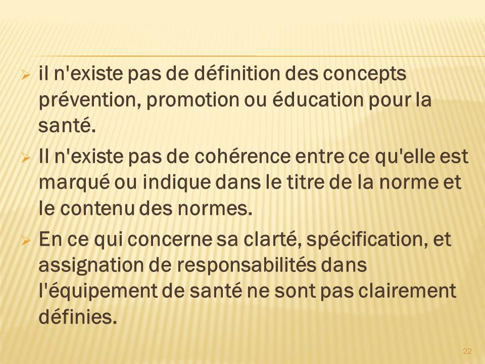 il n existe pas de définition des concepts prévention, promotion ou éducation pour la santé.