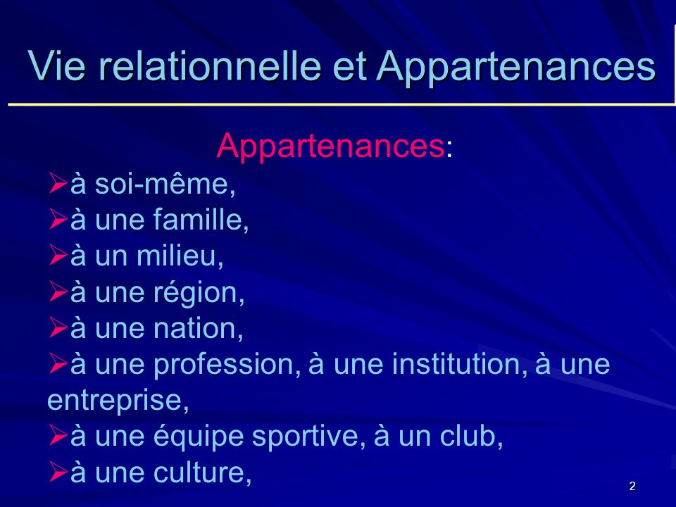 Vie relationnelle et Appartenances
