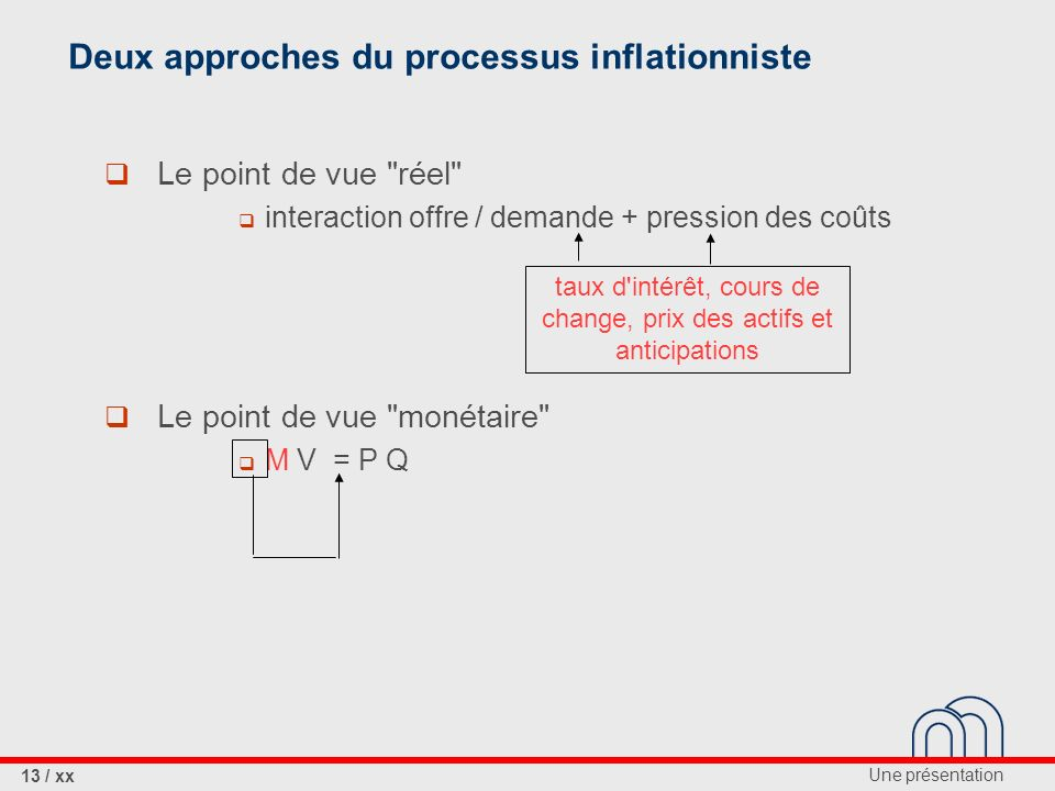 Deux approches du processus inflationniste