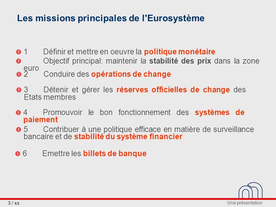 Les missions principales de l Eurosystème