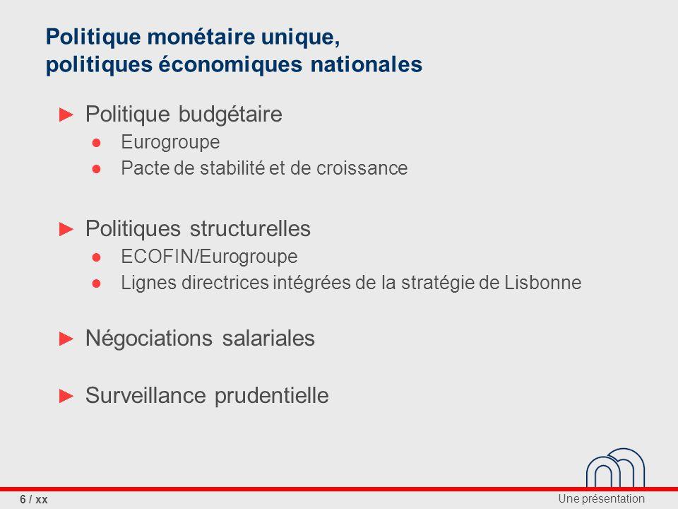 Politique monétaire unique, politiques économiques nationales