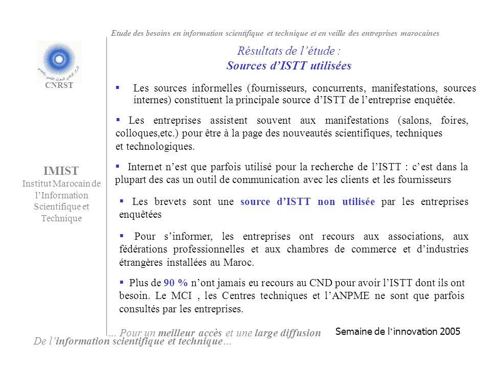 Résultats de l'étude : Sources d'ISTT utilisées