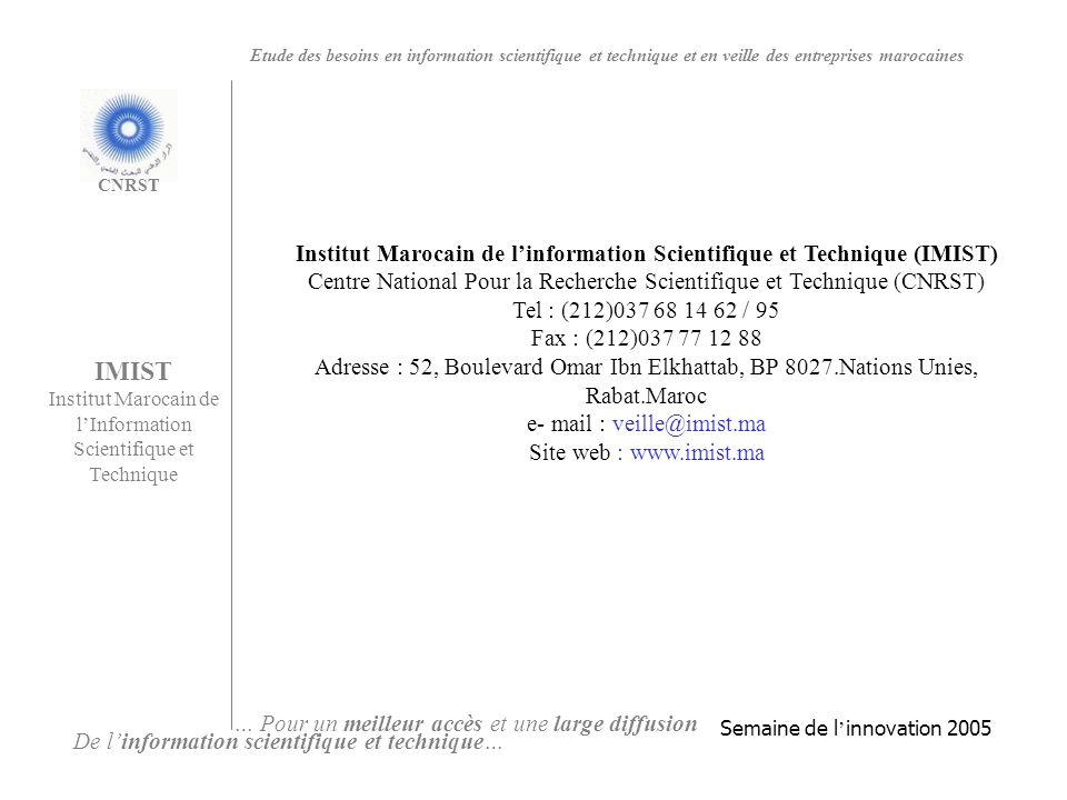 Institut Marocain de l'information Scientifique et Technique (IMIST)